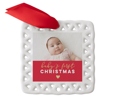 babys first christmas heart ceramic ornament