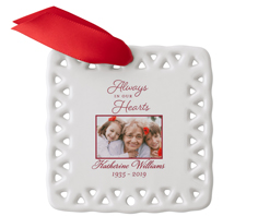 always in our heart ceramic ornament