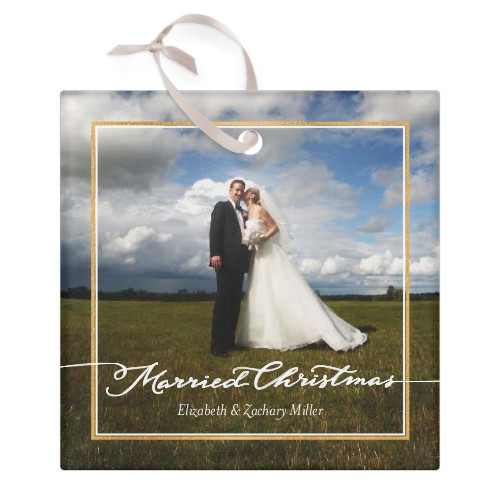 Married Frame Glass Ornament, Multicolor, Square