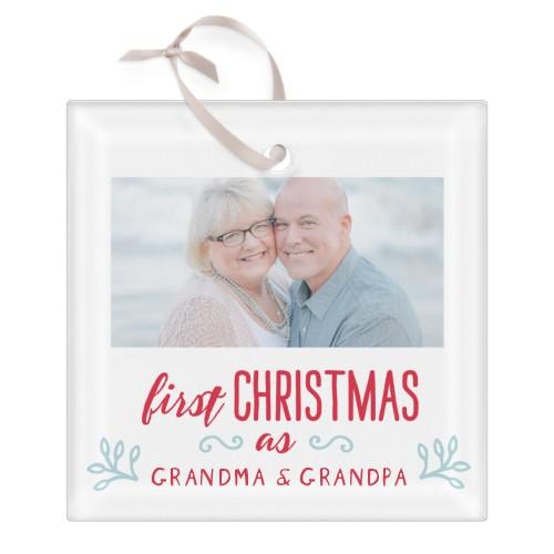 Grandparents First Christmas Glass Ornament, White, Square