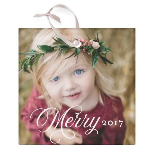 Merry Script Glass Ornament, White, Square