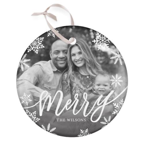 Merry Snowflake Glass Ornament, White, Circle