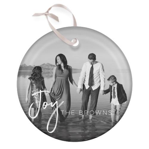 Joy Script Glass Ornament