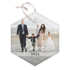 scripted love glass ornament