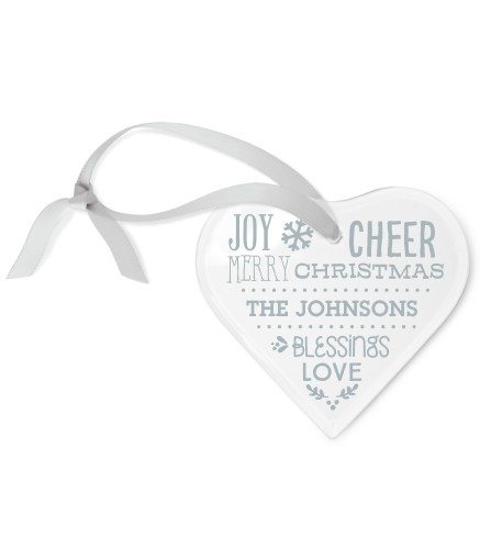 Blessed Christmas Etched Glass Ornament, White, Heart