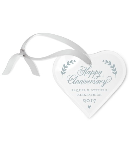 Anniversary Love Etched Glass Ornament
