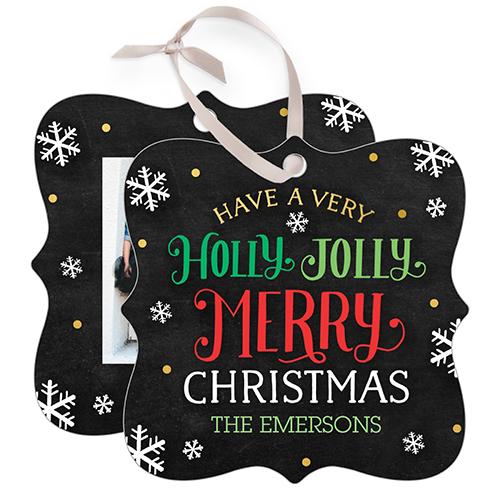 Holly Jolly Merry Snowflake Metal Ornament, Black, Square_Bracket
