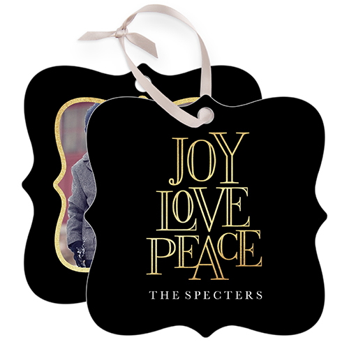 Joy Love Peace Snowflake Metal Ornament, Black, Square_Bracket