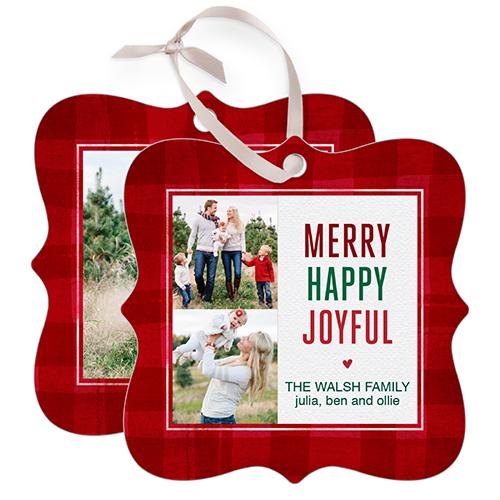 Merry Plaid Snowflake Metal Ornament, Red, Square_Bracket
