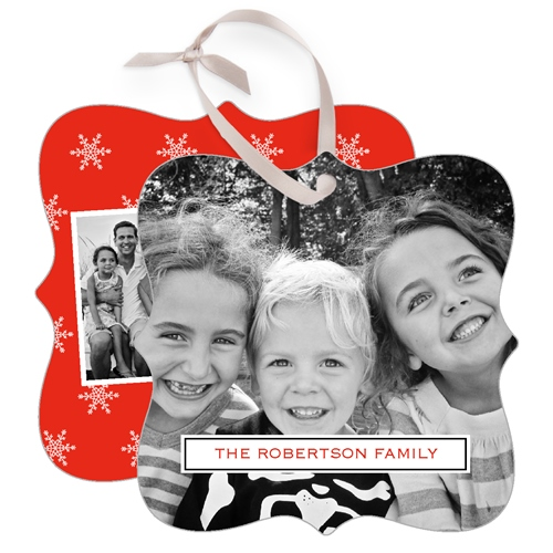 Holiday Snowflakes Metal Ornament, Red, Square_Bracket