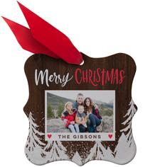 snowy christmas metal ornament