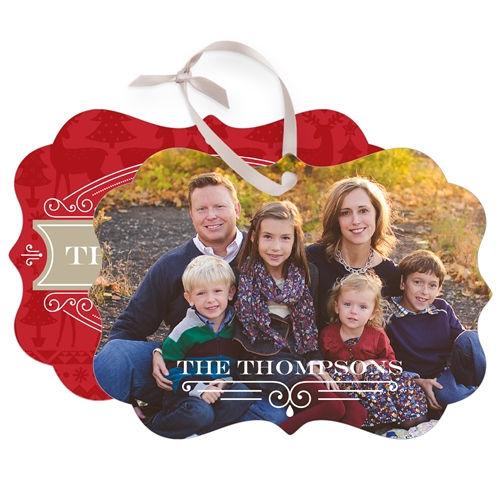 Family Traditions Metal Ornament, Red, Rectangle_Bracket