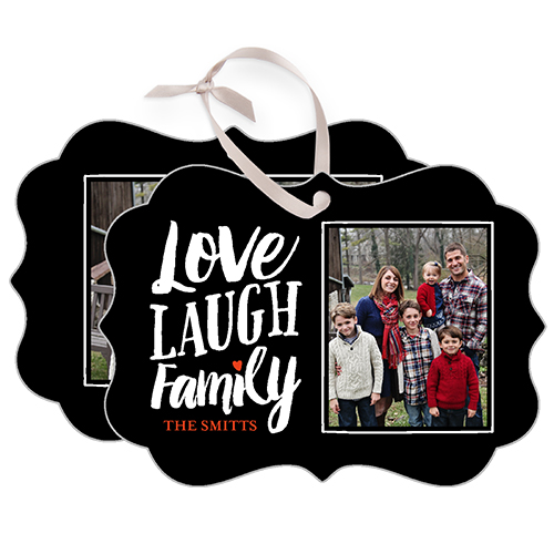 Love Laugh Family Metal Ornament, Black, Rectangle_Bracket