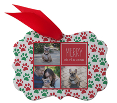 best in show holiday pawprints metal ornament