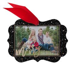 merry confetti metal ornament