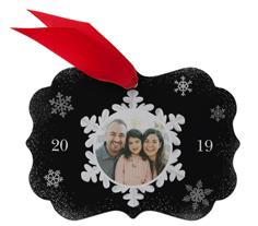whimsy snowflake frame metal ornament