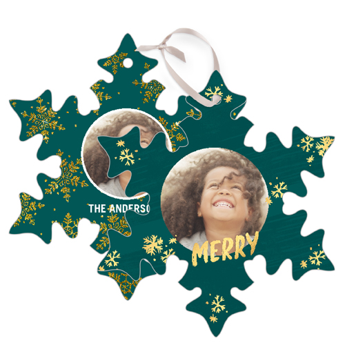 Merry Sparkle Metal Ornament, Green, Snowflake