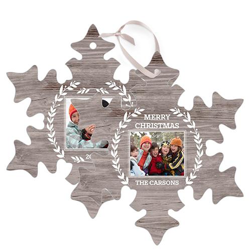Rustic Foliage Snowflake Metal Ornament