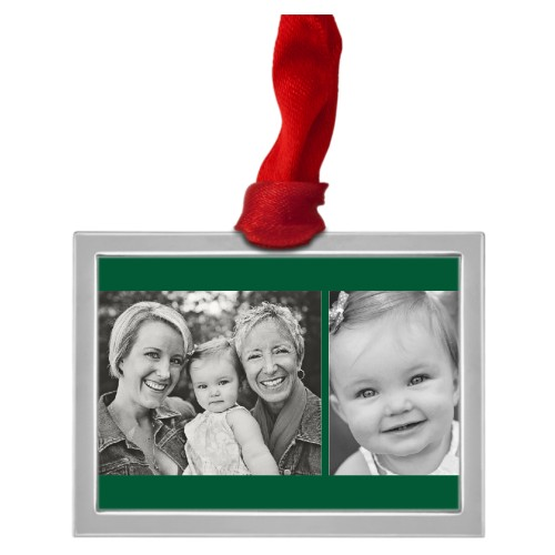 Gallery of Two Stripes Pewter Ornament, White, Rectangle