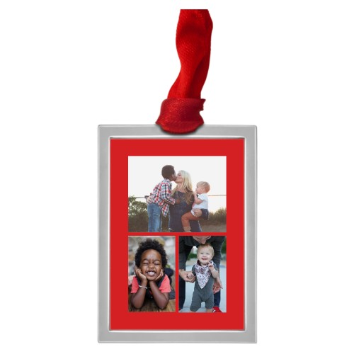 Framed Vertical Gallery of Three Pewter Ornament, Red, Rectangle