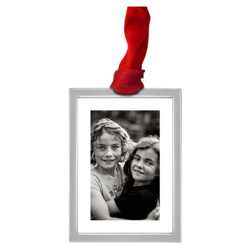 Framed Gallery of One Vertical Pewter Ornament, Red, Rectangle