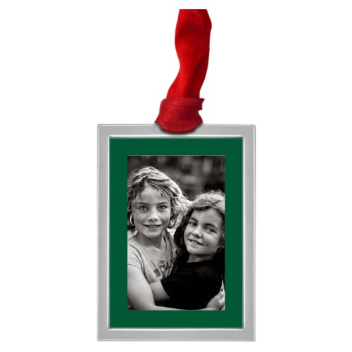 Framed Gallery of One Vertical Pewter Ornament, Green, Rectangle