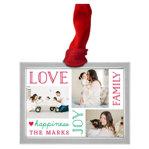 Love Joy Happiness Collage Pewter Ornament, White, Rectangle