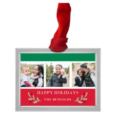 classic christmas collage pewter ornament