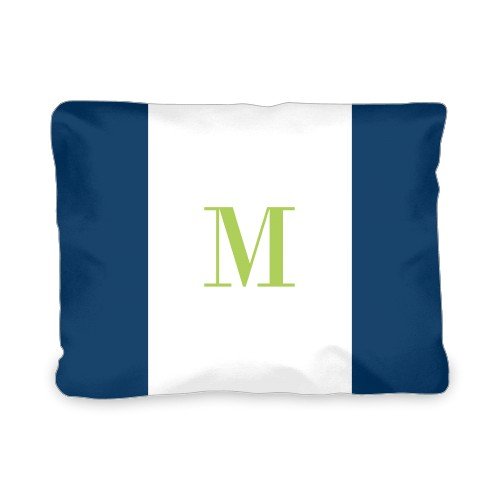 Simple Monogram Outdoor Pillow, Pillow (Ivory), 12 x 16, Single-sided, Blue