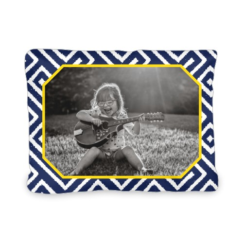 Lively Frame Outdoor Pillow, Pillow (Taupe), 12 x 16, Single-sided, Blue