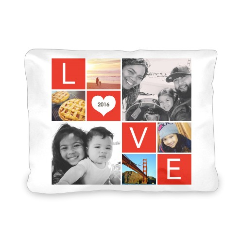 LOVE Collage Outdoor Pillow, Pillow, 12 x 16, Double-sided, Red