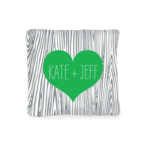 Heart And Woodgrain Outdoor Pillow, Pillow, 16 x 16, Double-sided, Green