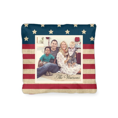 Rustic Flag Outdoor Pillow, Pillow, 16 x 16, Double-sided, Red