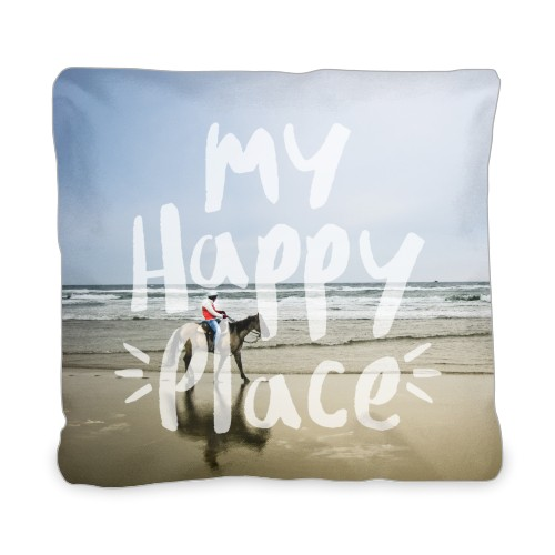 My Happy Place Outdoor Pillow, Pillow (Taupe), 20 x 20, Single-sided, White