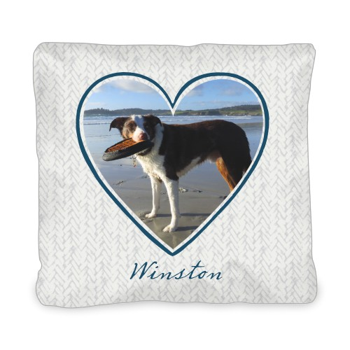 Brushed Heart Outline Outdoor Pillow, Pillow (Ivory), 20 x 20, Single-sided, DynamicColor