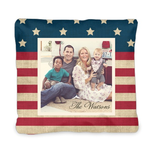 Rustic Flag Outdoor Pillow, Pillow (Taupe), 20 x 20, Single-sided, Red