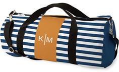 stripe monogram kids overnight bag