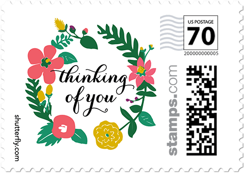 Special Wreath Personalized Postage Stamps