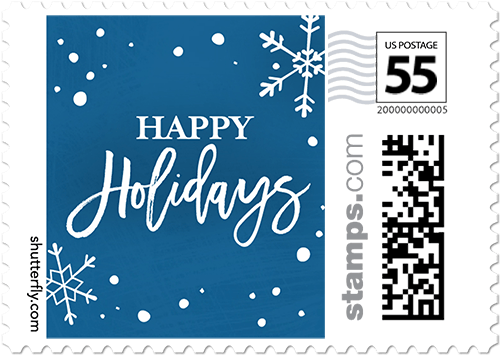 Flurry Holidays Personalized Postage Stamps
