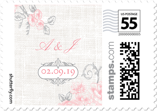 Antique Rose Scrolls Personalized Postage Stamps