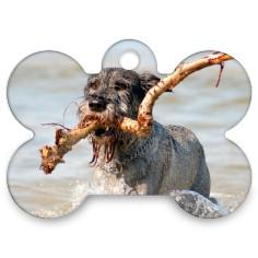 dog bone in plaid bone pet tag