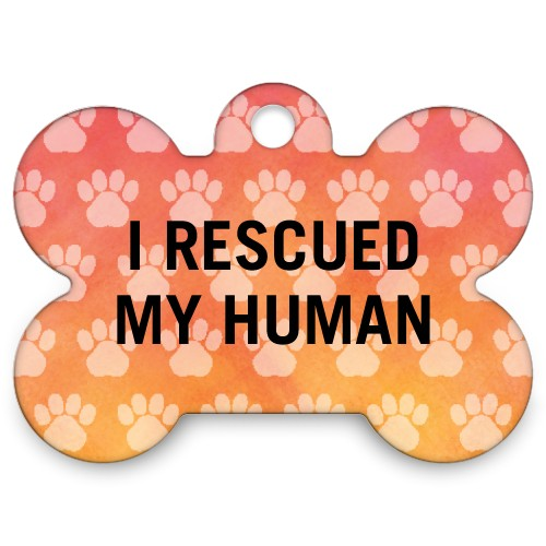 Watercolor Paws Bone Pet Tag, Orange