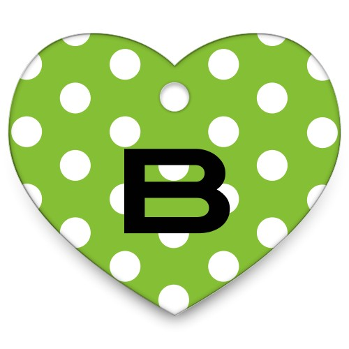 Polka Dots Heart Pet Tag, Green