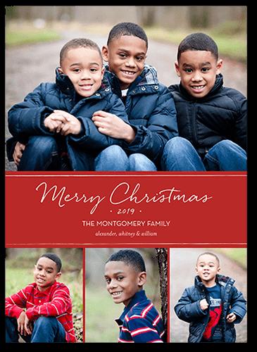 Basic Festive Banner Christmas Card, Square