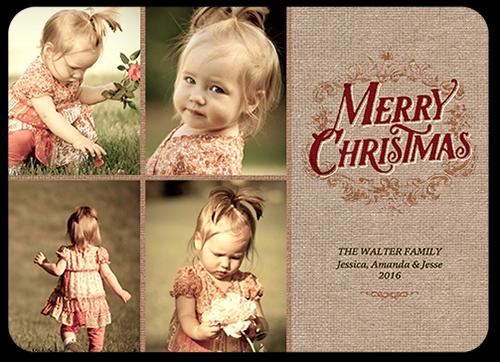Merry Linen Christmas Card