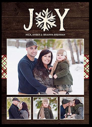 Enchanting Joyous Snowflake Christmas Card, Square Corners