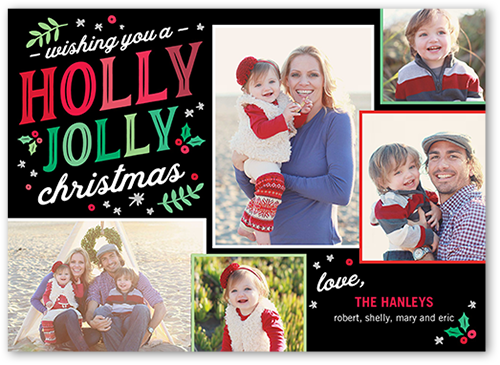 Holly Jolly Berries Christmas Card, Square Corners
