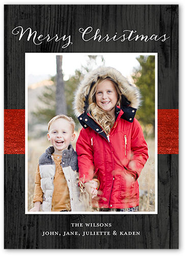 Wooden Basic Gallery Christmas Card, Square Corners