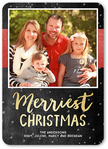 Merriest Falling Flakes Christmas Card, Rounded Corners
