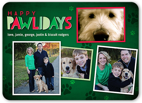Pawliday Greeting Holiday Card, Rounded Corners